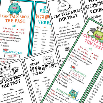 "I can talk about the past + My first IRREGULAR verbs ""Monsters"" BOOKMARKS"