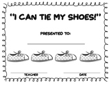 I can tie my shoes certificate