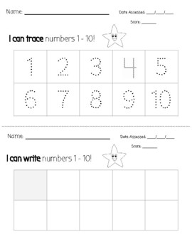 I can trace and write numbers 1-10
