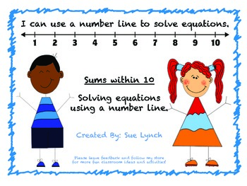 I can use a number line to solve equations within 10!  Answer Key Included