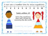 I can use a number line to solve equations within 10!  Self Correct w/ QR Codes