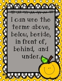 I can use the terms above, below, beside, in front of, behind, and under-K.G.A.1