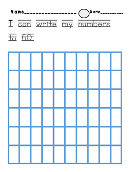 I can write my numbers to 60 quiz