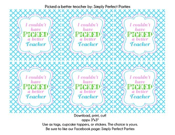 I couldn't have picked a better teacher appreciation printable tags
