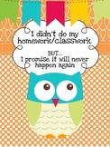 I didn't do my homework/classwork binder