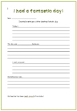 I had a fantastic day - Letter template