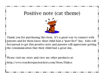 """""""I had a purr-fect day!""""  Positive Note (cat theme)"""