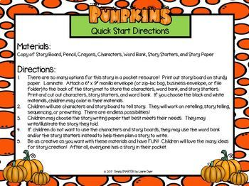 I have A Story In My Pocket:  LOW PREP Pumpkin Storytelling Activities