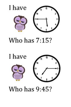 I have WHO has clock game (Quarter too and Quarter Past) Cute Owl Theme