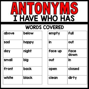 I have Who Has ANTONYM Practice