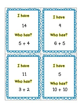 I have, Who Has Addition Facts Practice Set A