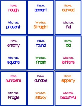 I have... Who Has? Antonyms Version