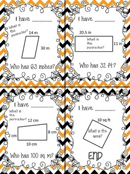 I have Who Has- Area and Perimeter (Halloween)