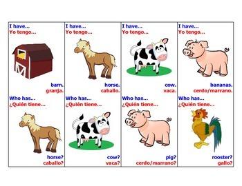 I have, Who Has Bilingual Farm Animal Edition