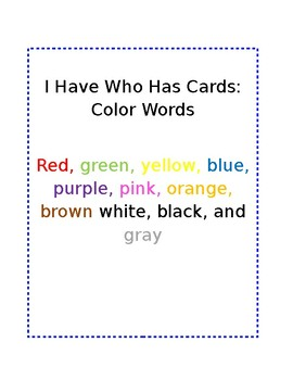 I have Who Has Cards Color Words in Color