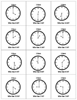 I have . . . Who Has Clocks & Time with Hour and Half Hour
