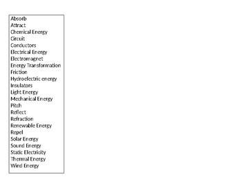 I Have, Who Has Energy, SSA Prep (Big Ideas 10 & 11)