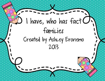 I have, Who Has Fact Families