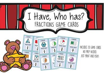 I have Who Has Fractions Game