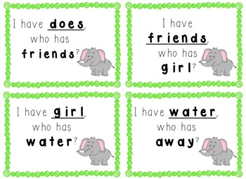 I have, Who Has Game - 1st Grade Texas Treasures Unit 3 Sight Words - Elephants