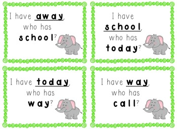 I have, Who Has Game - 1st Grade Texas Treasures Unit 3 Sight Words - Elephants