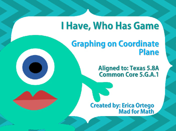 I have Who Has Game Graphing on Coordinate Plane 5th Grade