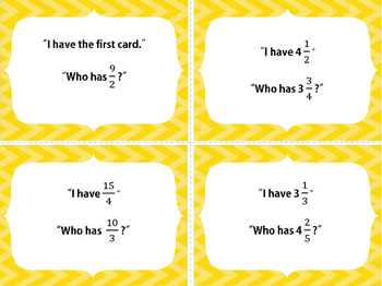 I have Who Has Game Mixed Numbers and Improper Fractions 5th Grade