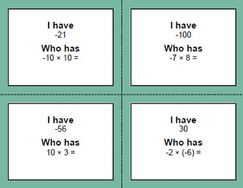 I have, Who Has - Integers Bundle