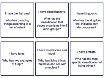 I have, Who Has - Plant and Animal Classifications flashcards