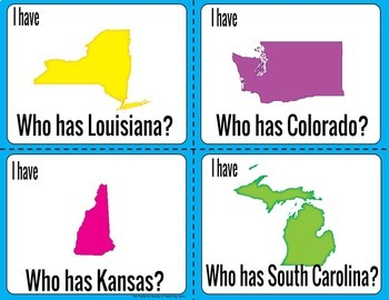 I Have Who Has States and Capitals