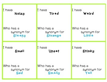 I have, Who Has - Synonyms