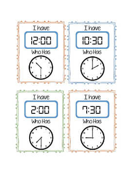 Telling Time Game- I have, Who Has *Hour and Half Hour*
