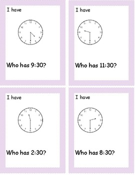I have, Who Has Telling Time to the Half Hour