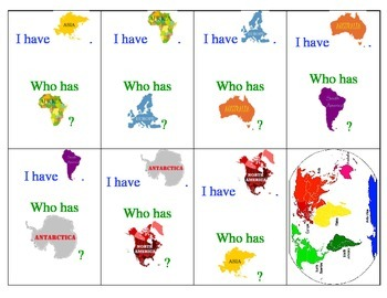 I have. . . Who Has: The Continents