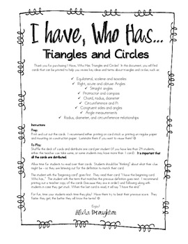 I have, Who Has - Triangles and Circles