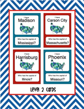 I have, Who Has...? US State Capitals Card Game (two levels)