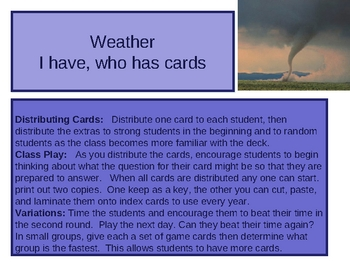 I have, Who Has - Weather flashcards