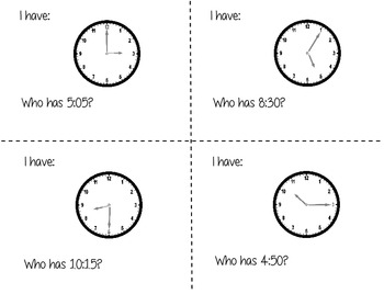 I have Who Has Whole Class Telling Time to the Five Minute Activity