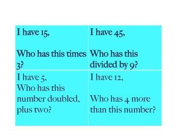 I have Who Has includes percent fractions multiplication