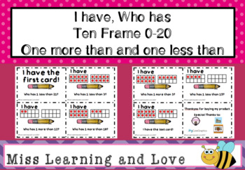 I have Who has 10 Frame 0-20 Maths Numeracy Game: One more than, One Less than