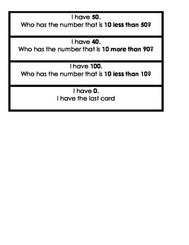 I have, Who has? 10 more and 10 less math activity within 100