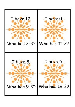 I have, Who has -3 Subtraction Strategy