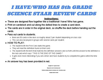 I have/ Who has 8th grade Science STAAR Vocabulary