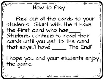 I have...Who has...Addition and Subtraction Game