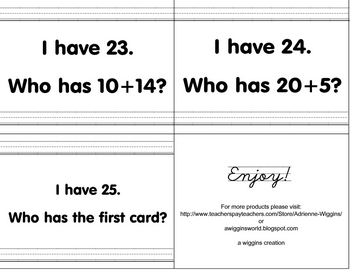 I have, Who has? Addition (sums from 1-25)