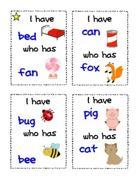 I have Who has CVC Cards {Literacy Activity} Kindergarten