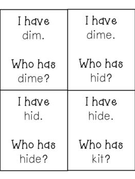 """I have, Who has? CVC vs CVCe Practice, """"i"""" words"""