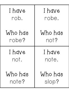 """I have, Who has? CVC vs CVCe Practice, """"o"""" words"""