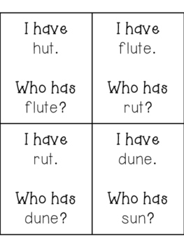 "I have, Who has? CVC vs CVCe Practice, ""u"" words"