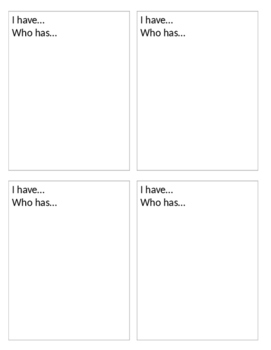 I have...Who has - Card Template